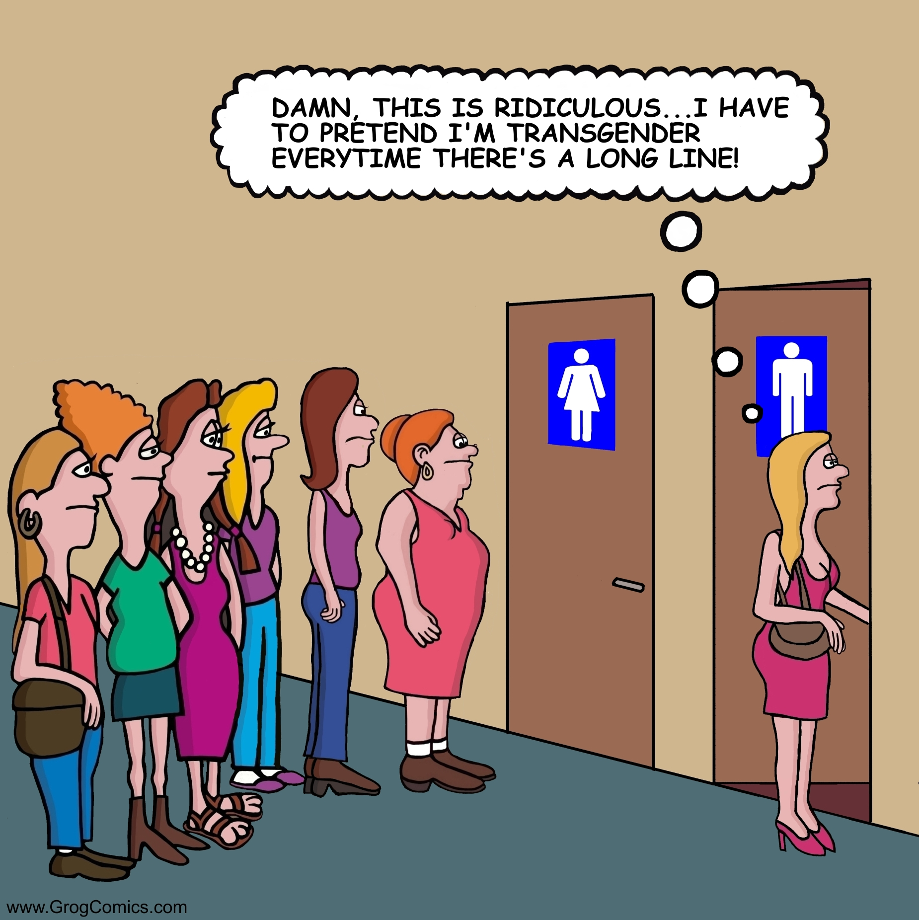 "A long line exists for the woman's bathroom. One woman decides to use the men's bathroom instead. She says to herself, ""Damn, this is ridiculous...I have to pretend I'm transgender everytime there is a long line."""